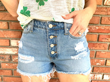 Load image into Gallery viewer, Distressed Button Down Denim Shorts