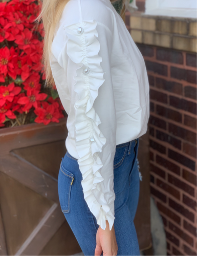 White Ruffle Sleeve Pearl Pull Over