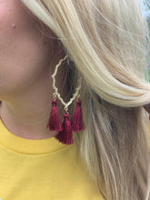 Load image into Gallery viewer, Garnet Tassel Earrings