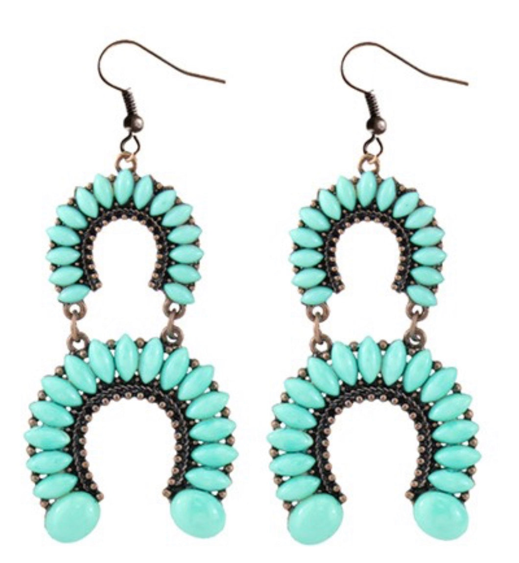 Turquoise Country Cutie Horseshoe Earrings