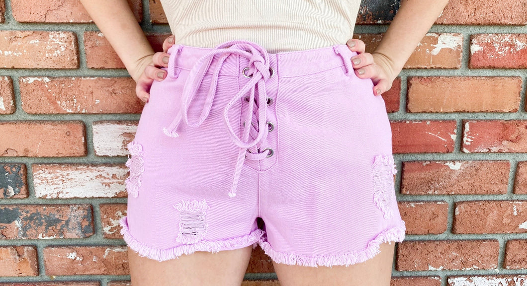 Pink Lace Up Denim Shorts