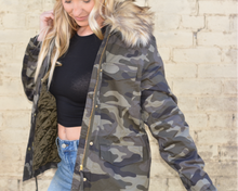 Load image into Gallery viewer, Camo Fur Jacket