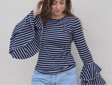 Load image into Gallery viewer, Striped Navy Bell Sleeve