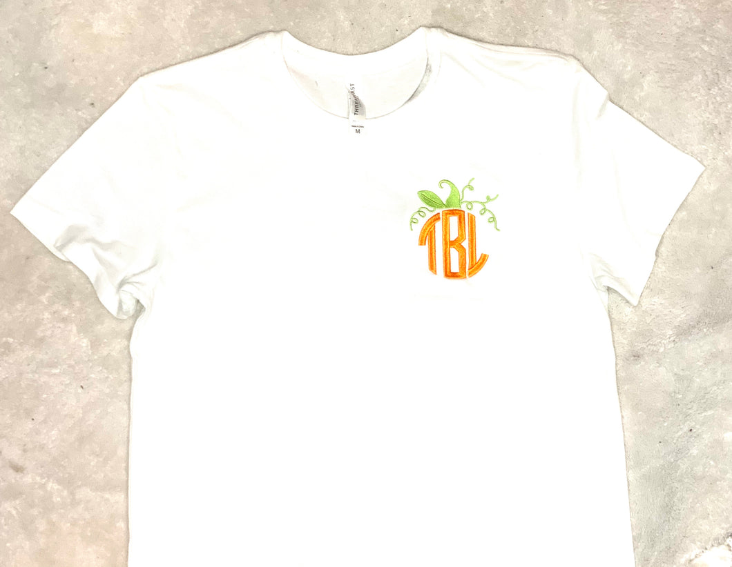 Custom Pumpkin Monogram Short Sleeve White