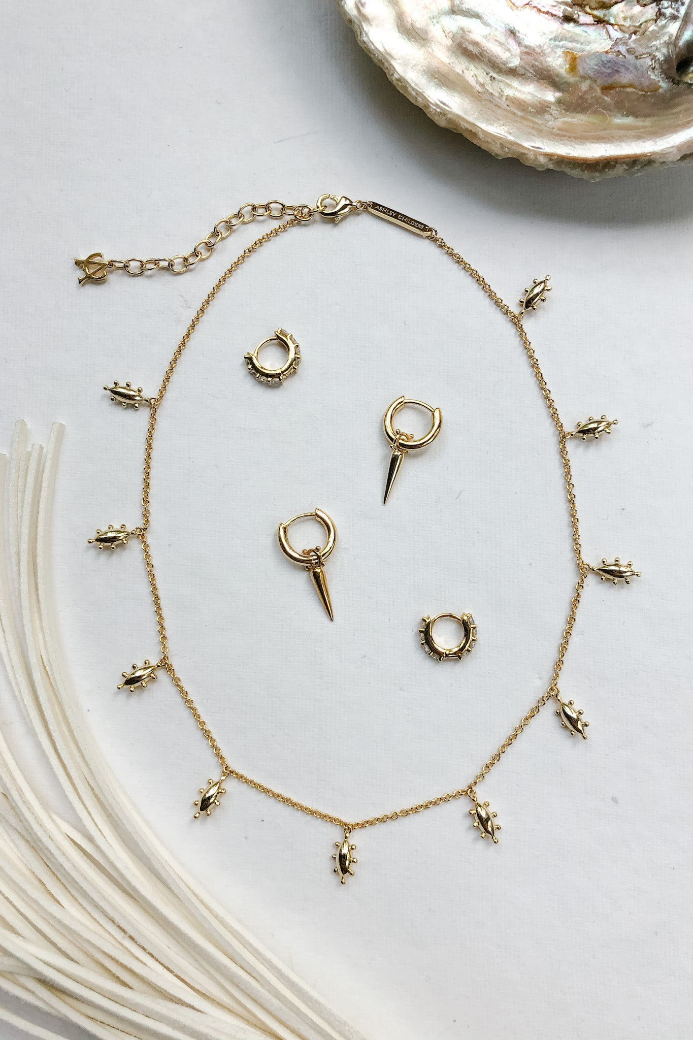 Ashley Childers Jewelry, Huggies and Necklace