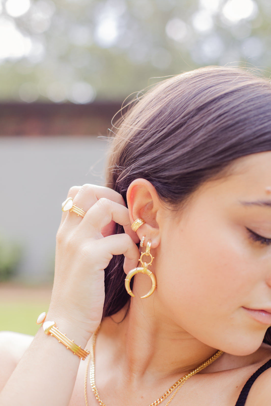 Ashley Childers Jewelry, Hestia Gold Horn Earrings