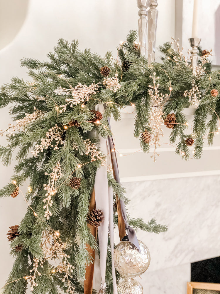 Ashley Childers, Cedar Garland with Gold Berries and LED Fairy Lights