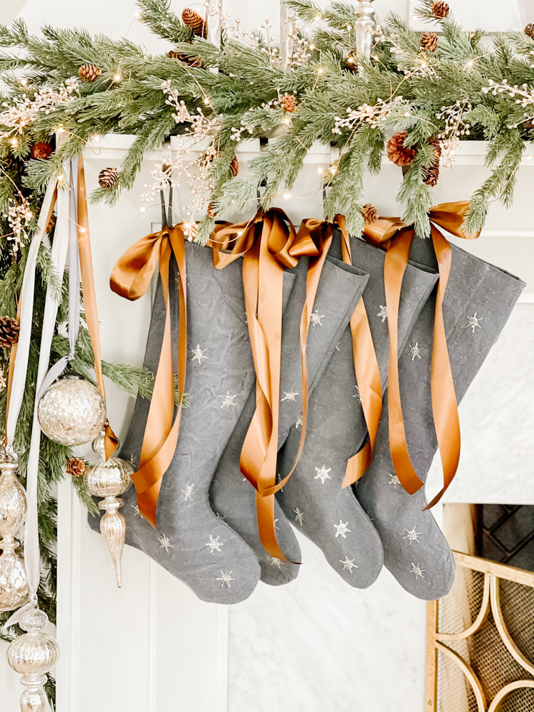 Ashley Childers, Gray Linen Stockings with Copper Sating Ribbon