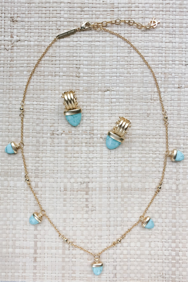 Ashley Childers, Aegean Multi Drop Necklace, Turquoise