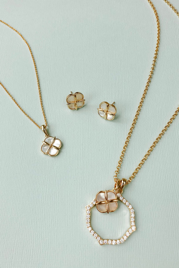 Ashley Childers, Quatrefoil Double Drop Necklace