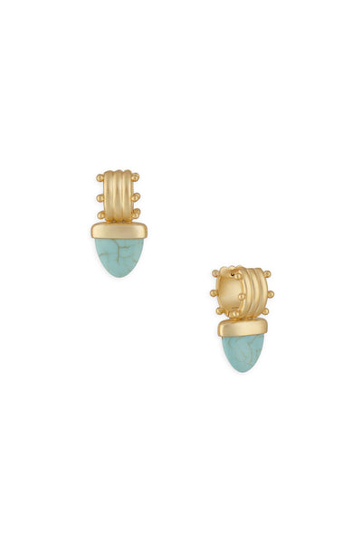 Ashley Childers, Aegean Huggies in matte 18K Gold with Turquoise stones