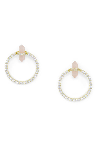 Ashley Childers, Double Point 2 in 1 Earrings, Rose Quartz