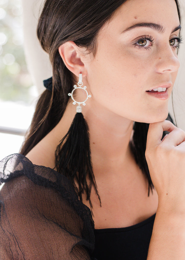 Ashley Childers, Flock Rock Earrings in Black