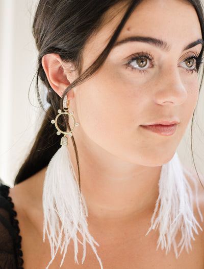 Ashley Childers, Flock Rock Earrings in White