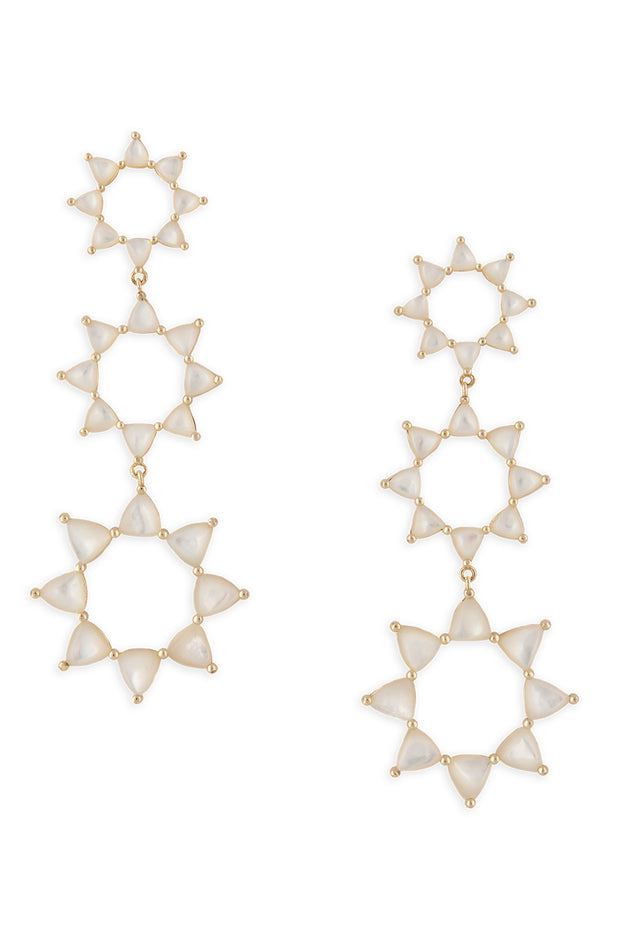 Ashley Childers, Flora Earrings, white Mother of Pearl