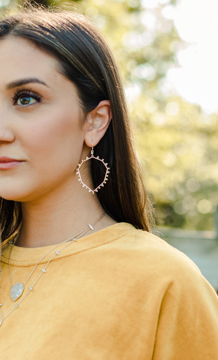 Ashley Childers, Geo Silver Drop Earrings