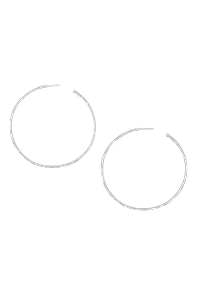 Ashley Childers, Matte Hammered Silver Hoops, Large