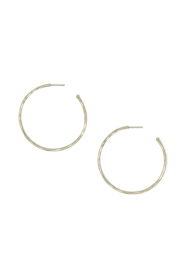 Ashley Childers, Matte Hammered Gold Hoops, Large