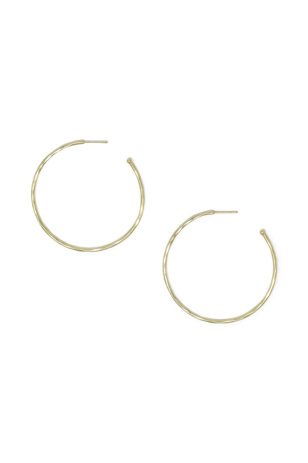 Ashley Childers, Matte Hammered Gold Hoop, Medium
