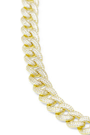 Ashley Childers Pave Curb Chain Bracelet in Gold, Close Up