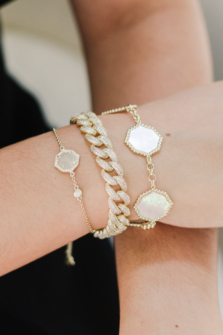 Ashley Childers, Signature Petite Mother of Pearl Bracelet in Gold