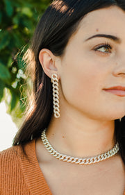 Ashley Childers, Pave Curb Chain Earrings