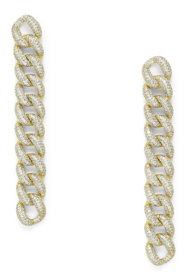 Ashley Childers, Pave Curb Chain Earrings in Gold