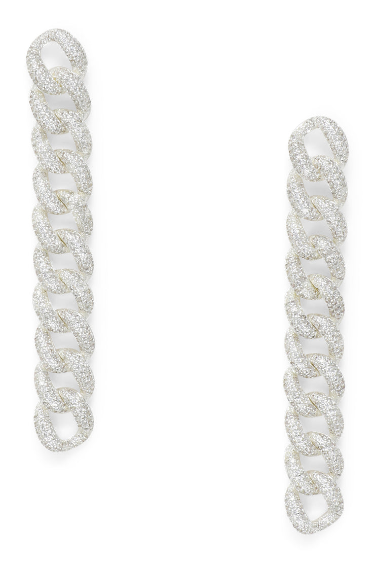 Ashley Childers, Pave Curb Chain Earrings in Silver