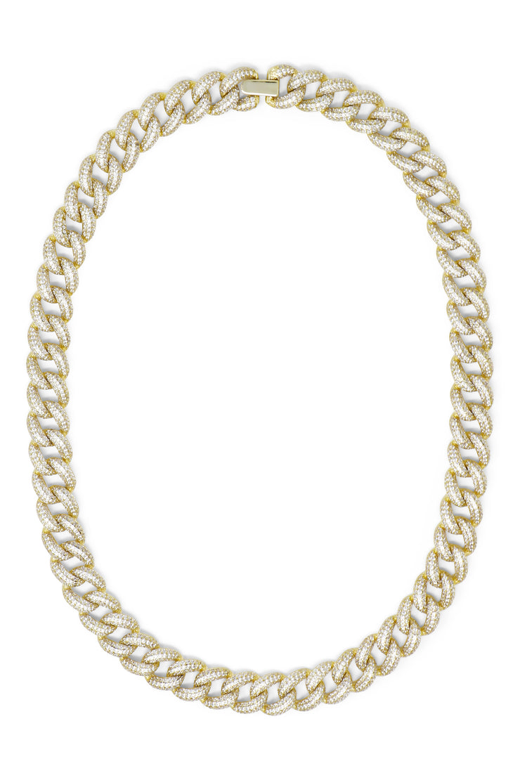 Ashley Childers, Pave Curb Chain Necklace in Gold