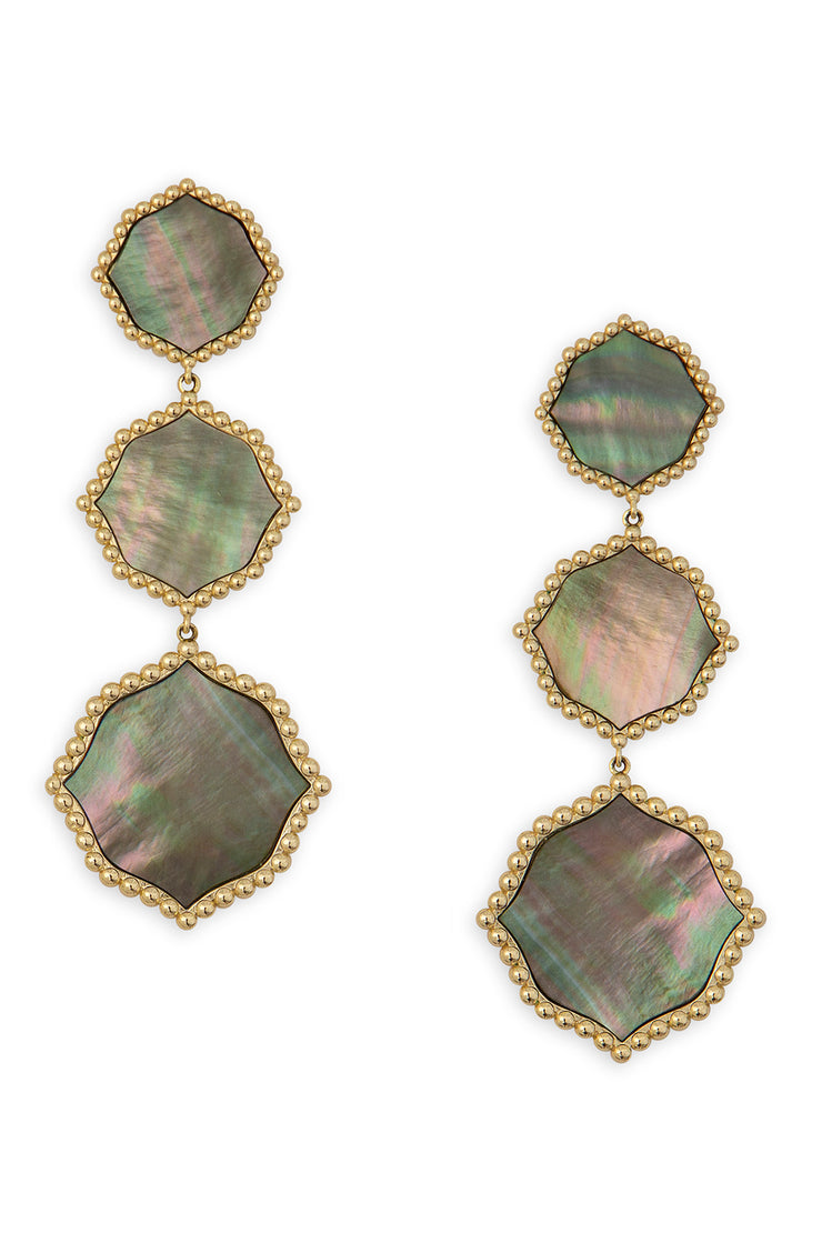 Ashley Childers. Signature Statement Earrings, Gray Mother of Pearl