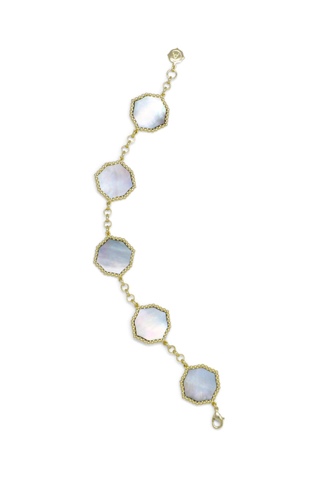 Ashley Childers, Signature Statement Bracelet in Gray Mother of Pearl