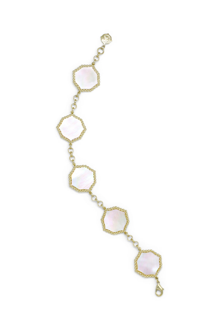 Ashley Childers, Signature Statement Bracelet in Ivory Mother of Pearl