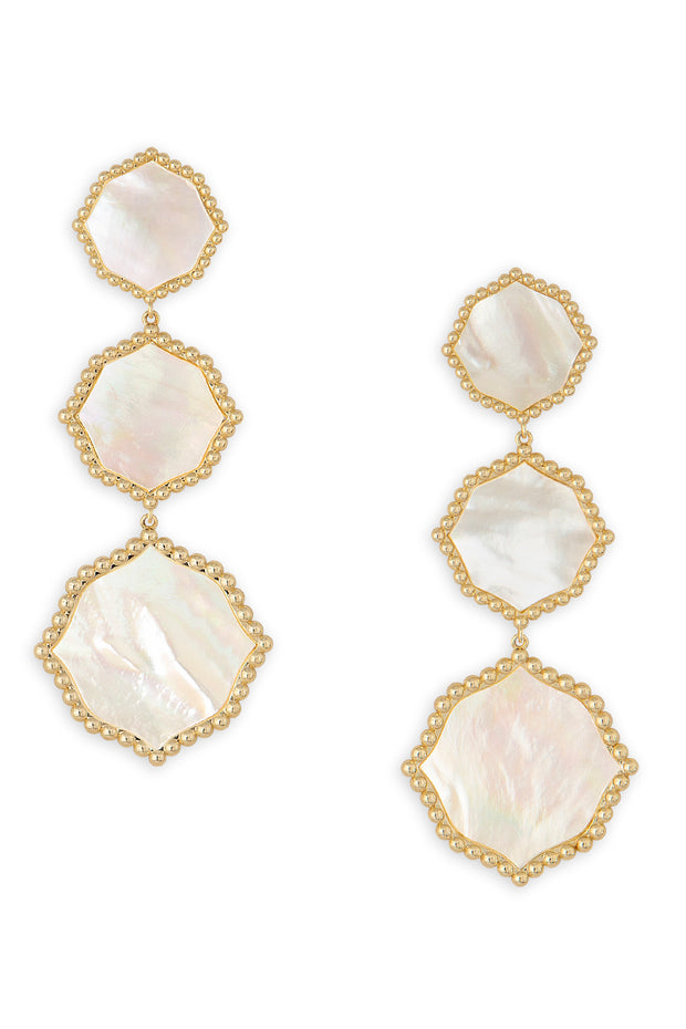 Ashley Childers, Signature Statement Earrings, Ivory Mother of Pearl