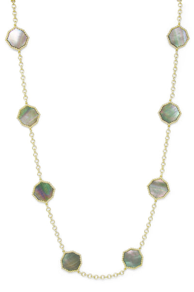 Ashley Childers, Signature Statement Necklace in Gray Mother of Pearl