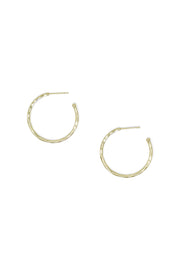Ashley Childers, Matte Hammered Gold Hoops, Small