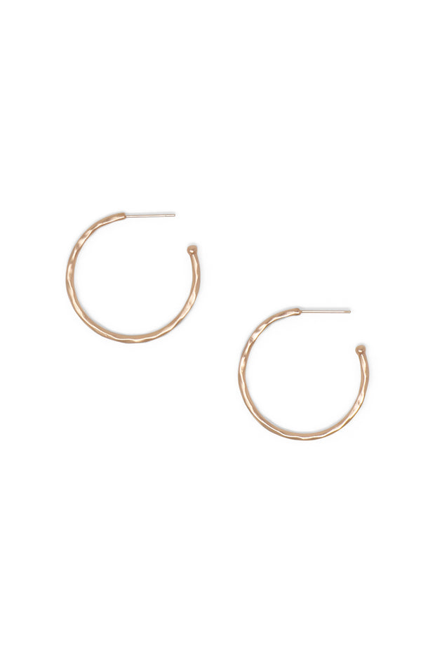 Ashley Childers, Matte Hammered Rose Gold Hoops, Small