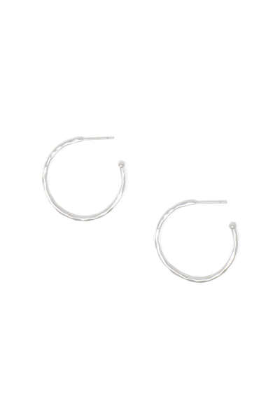 Ashley Childers, Matte Hammered Silver Hoops, Small
