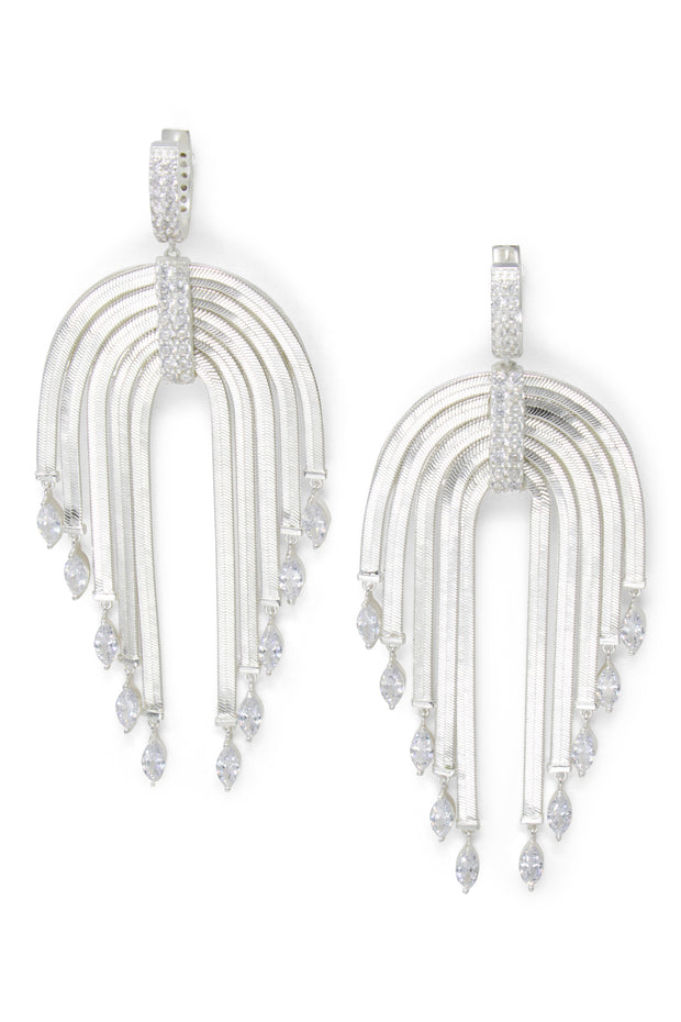 Ashley Childers, Waterfall Statement Earrings in Silver