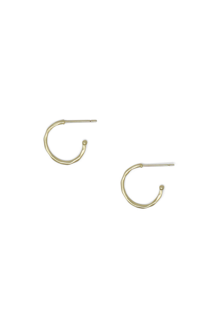 Ashley Childers, Matte Hammered Gold Hoops, Petite