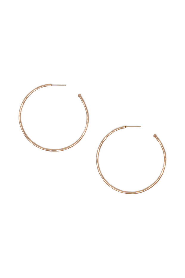 Ashley Childers, Matte Hammered Rose Gold Hoops, Medium