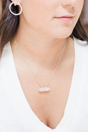Ashley Childers, Double Point Necklace, Rose Quartz