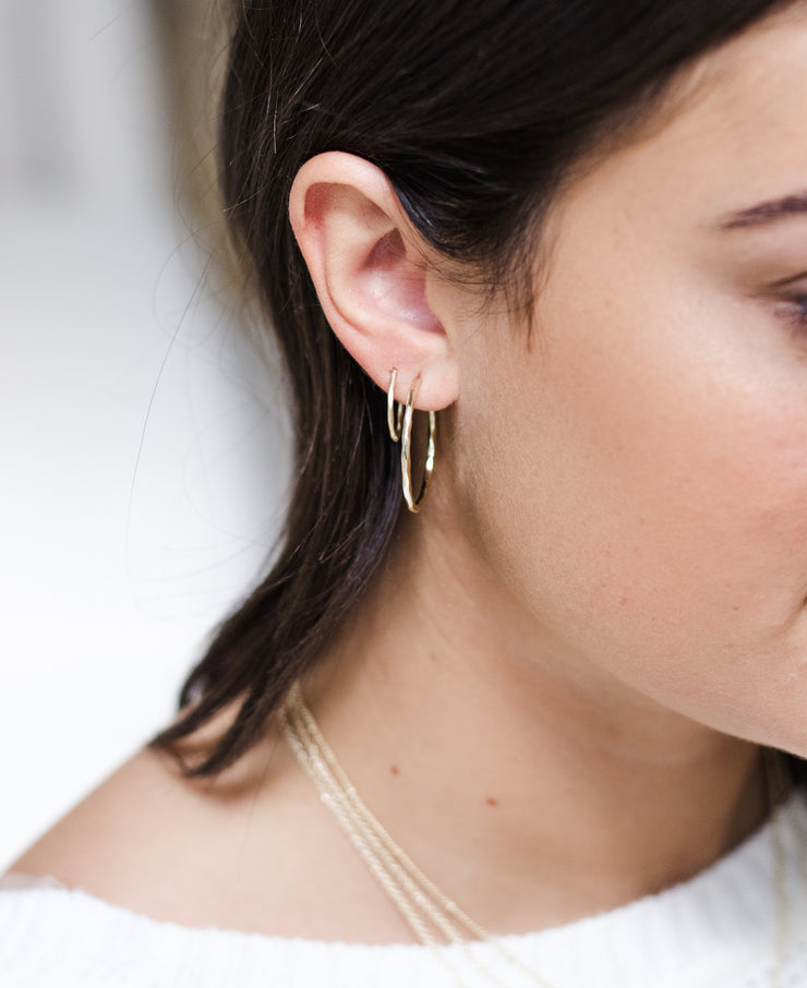 Ashley Childers, Matte Hammered Rose Gold Hoops