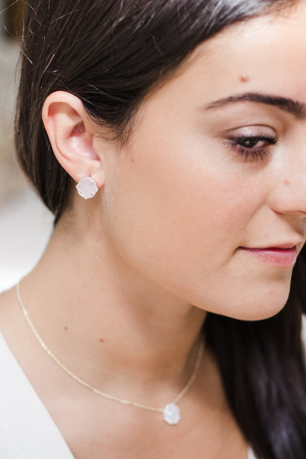 Ashley Childers, Signature Mini Stud earrings and Necklace in Iridescent Druzy