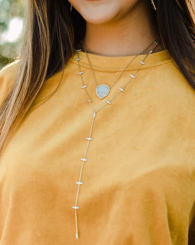 Ashley Childers Thorn Gold Lariat Necklace delicate style