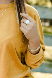 Ashley Childers Geo Mother of Pearl Statement Ring in Ivory