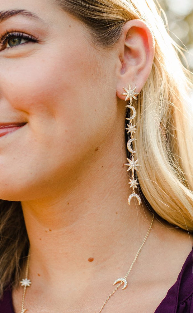 Ashley Childers Celeste Statement Earrings in Gold with moon and star detail