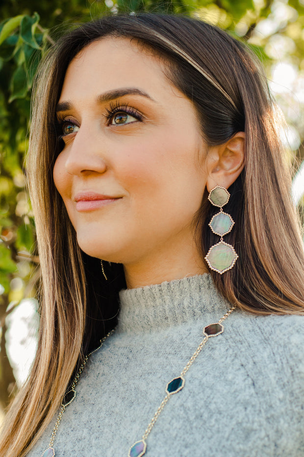 Ashley Childers Signature Statement Earrings in Gray Mother of Pearl