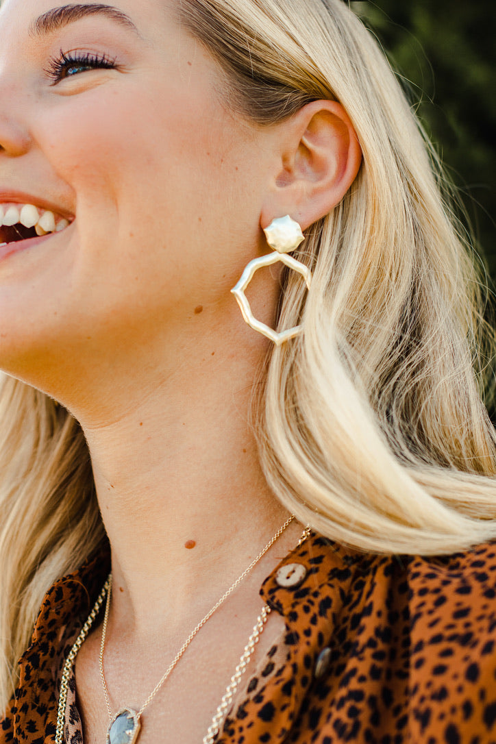 Ashley Childers Signature Hammered Earrings in Gold matte statement earrings style