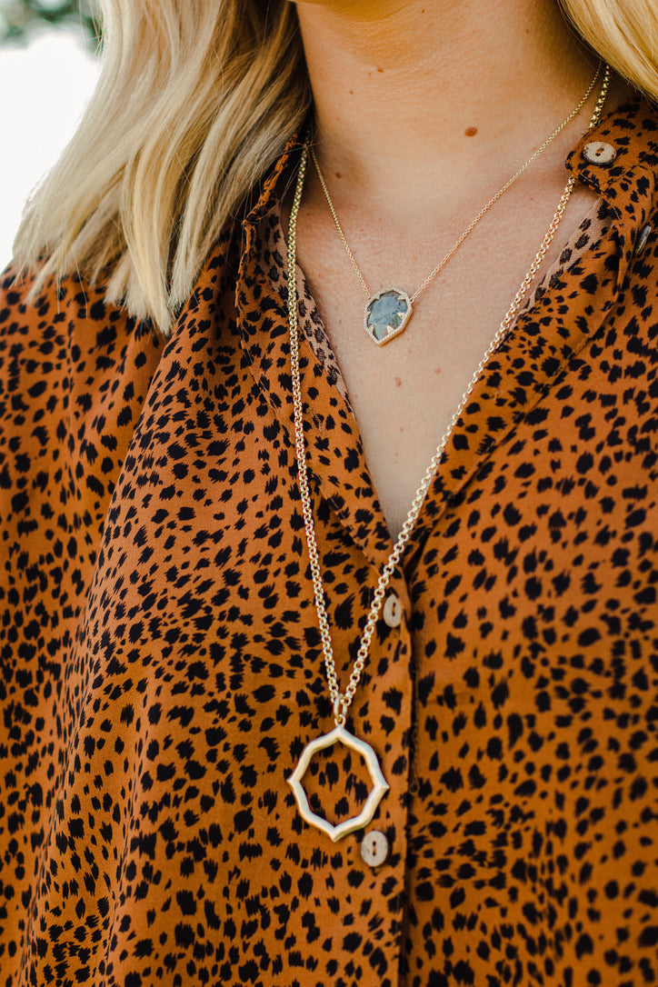 Ashley Childers Signature Hammered Pendant Necklace in Gold Long Statement Necklace style