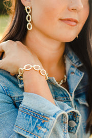 Ashley Childers Classic Gold Link Bracelet in matte gold hammered finish